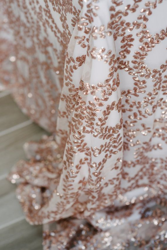 NEW Rose Gold Vine Sequin Tablecloth