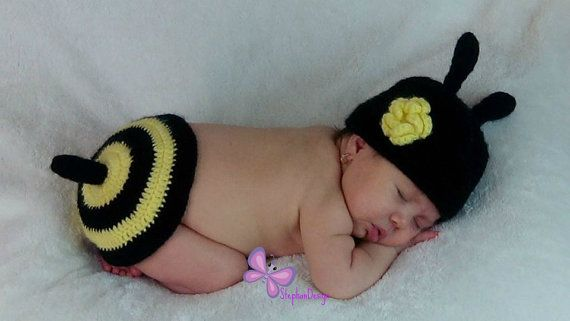 Handmade crochet bee outfit newborn photo prop by StephanDesign