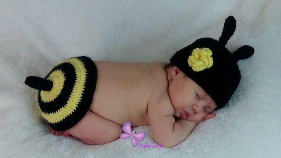 Handmade crochet bee outfit newborn photo prop by StephanDesign