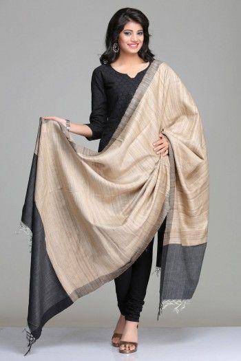 Classic Beige & Black Ghicha Tussar Silk Dupatta