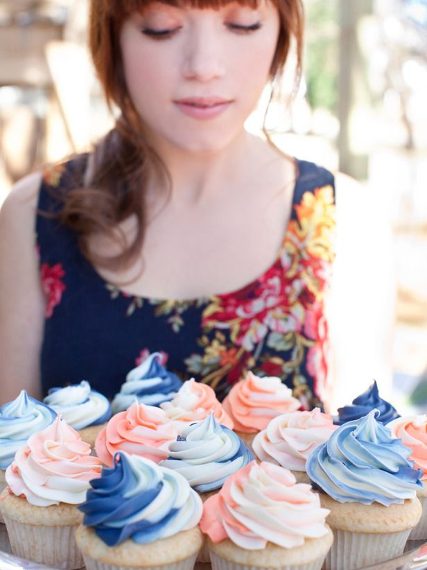 Pink and blue swirled cupcakes for baby shower