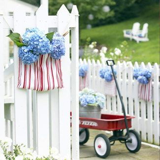4th of July: Fun Recipes, Red And White, Good Housekeeping, Blue Hydrangeas, Fourth Of July, Picket Fence, Red Wagon, 4Th Of July, Dishes Towels