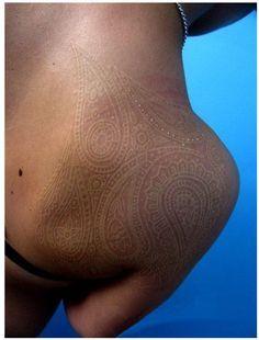 white ink tattoos on dark skin - Google Search