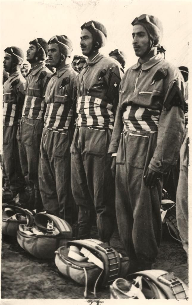 1940- Troops of Italian Parachute Corps lined up for inspection in Libya, North Africa.