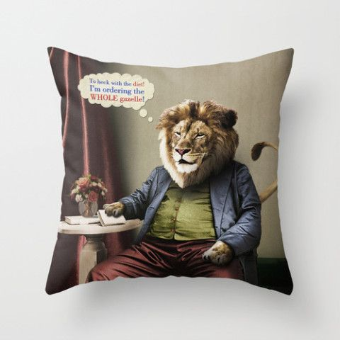 #society6 #throwpillow #bedding #home #decor #dorm #lion #diets #cats #animals #food #vintage #surreal #antique #gazelle #petergross