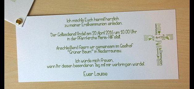 Einladungskarte Kommunion - eine Fächerkarte bestehend aus:  •einem transparentem Deckblatt mit Text/Grafik •einem aus festem Papier bestehendem Mittelblatt mit nettem Spruch/Zitat passend zum...
