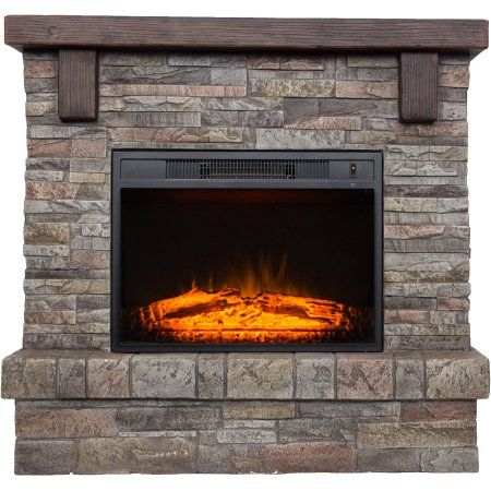 Polyfiber Electric Fireplace with 41 inch Mantle, Beige