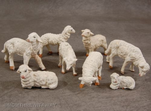 8 Vintage CHRISTMAS NATIVITY Chalkware SHEEP Manger Creche Figures ITALY: