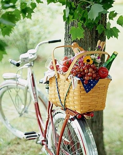 bike packed with picnic goodies