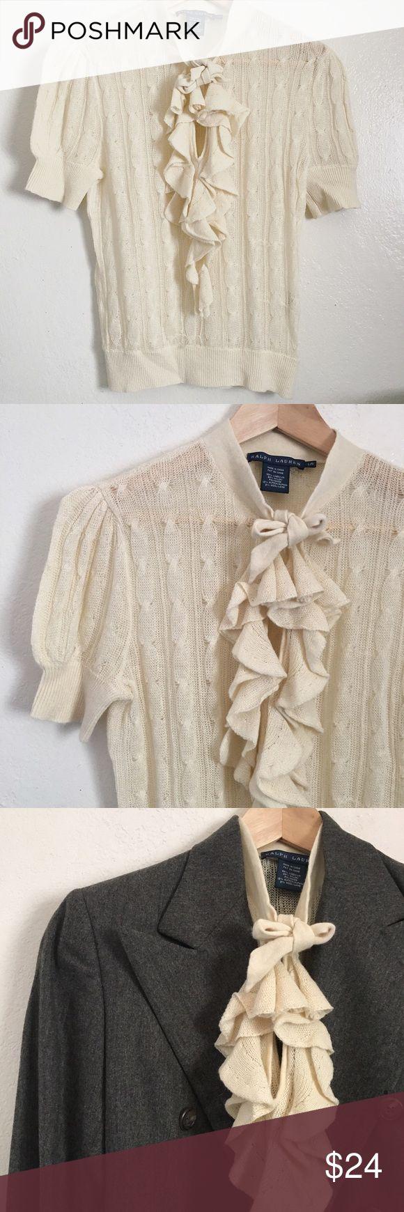 Ralph Lauren linen top Cream Short sleeve linen ruffle top. 64% linen and 22% nylon. BNWOT. Ralph Lauren Tops