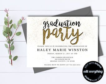 Gold Senior Graduation Party Invitation Template - Senior Graduation Template - Senior Graduation Invite - Senior Graduation Announcement