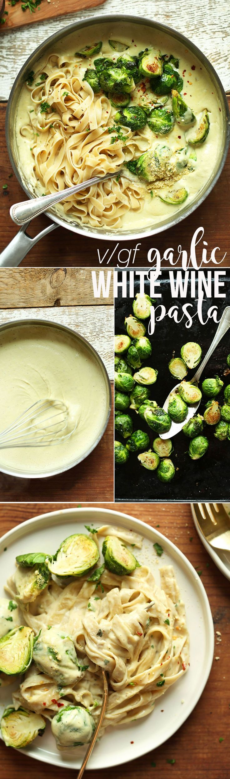 INCREDIBLE 30-minute White Wine + Garlic Pasta with Roasted Brussels Sprouts! Quickly becoming a fan favorite for good reason! #vegan #glutenfree #pasta #recipe #plantbased #minimalistbaker