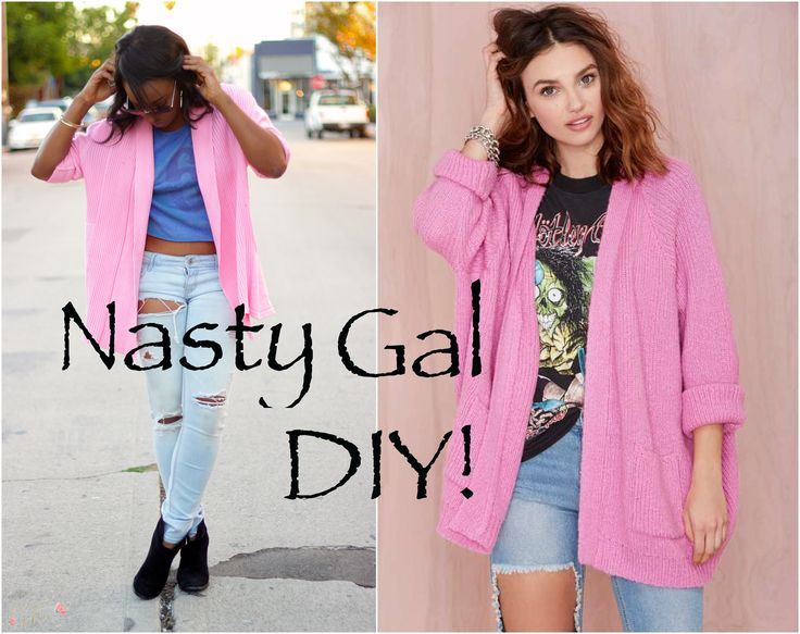 Make your own Nasty Gal inspired sweater! The gals of Forever en Fleur share this Nasty Gal Sweater DIY, a perfect way to spice up your fall wardrobe!