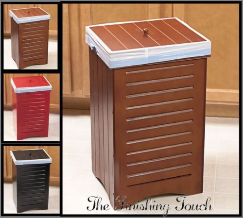New indoor wooden kitchen garbage trash can bin w lid black maple red wood home - Wooden kitchen trash can with lid ...
