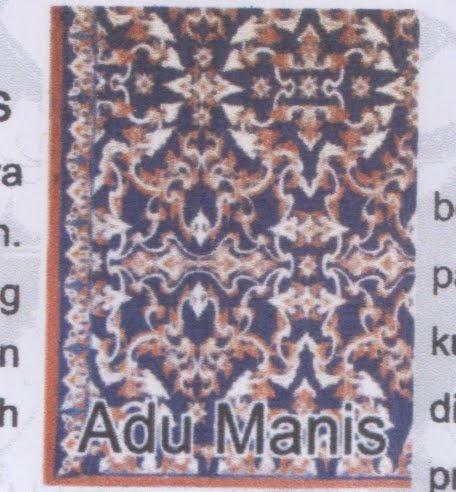 Batik Kuningan motif Adu Manis. Batik bermotif adu manis biasanya biasanya digunakan pada saat acara perkawinan. Adu manis merupakan lambang menyatuinya dua insan yang selaras dan harmonis dalam mengarungi niduk rumah tangga.