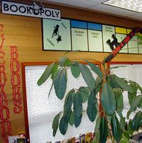 Central Elementary School || Library || Theme Page. OOH . . . Bookopoly as border. The street names are locations from popular books. Update for secondary books and this might just make it to my classroom. See the site for more!
