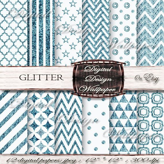 Teal Glitter Digital Paper for digital scrapbook lovers,Glitter Dots,Glitter Chevron,Christmas Glitter Paper,Sparkle Paper by DigitalDesignPaper. Explore more products on: www.etsy.com/...