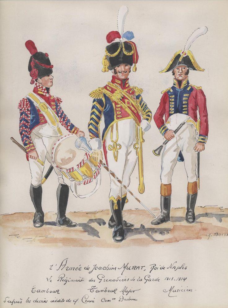 Tamnburo, tamburo maggiore e musicante dei granatieri della guardia della 2 armata di Murat
