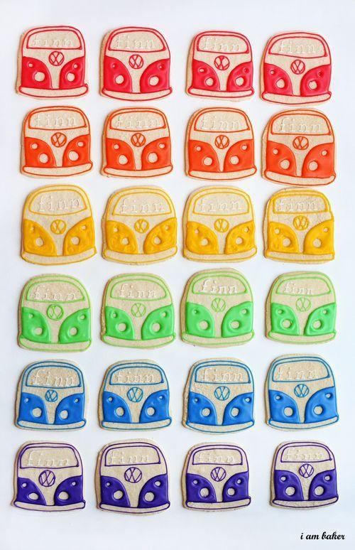 rainbow VW bus cookies