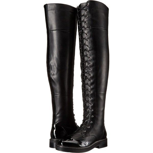 LFL by Lust For Life Craft (Black PU) Women's Shoes (120 CAD) ❤ liked on Polyvore featuring shoes, boots, black, over-the-knee boots, platform boots, black over-the-knee boots, black platform shoes, over knee boots and over the knee boots