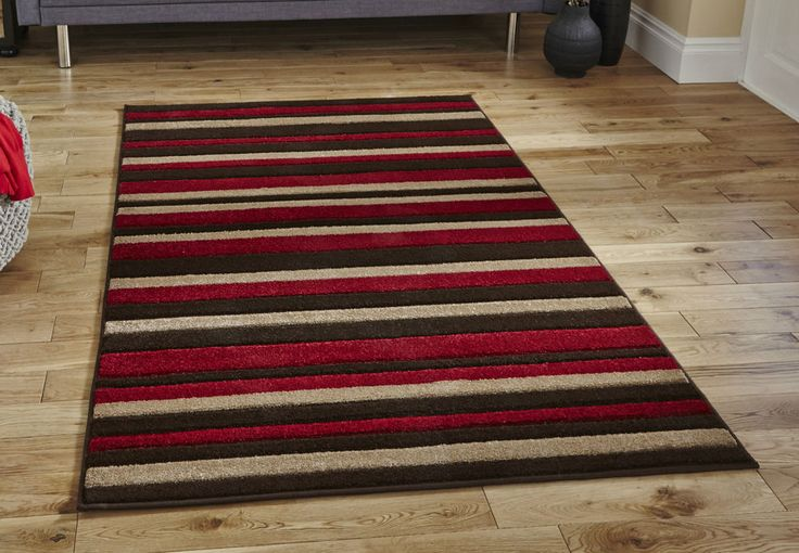 "Discount Modern brown red beige stripe rug 120x170cm (5'7""x4'0"")"