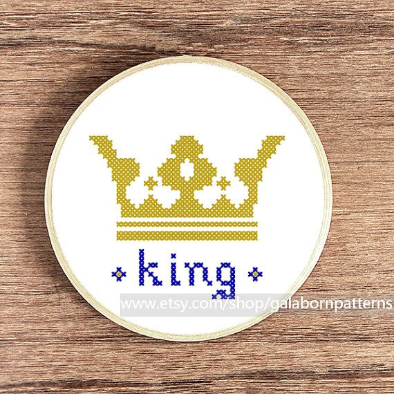 Counted cross stitch pattern PDF - King crown - Royal - Gift for him