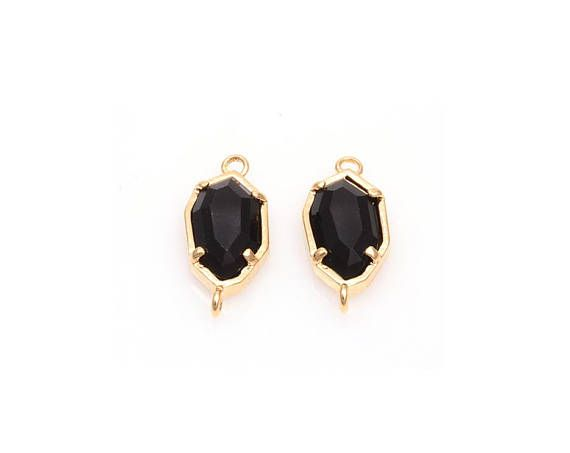 2pcs  Black Onyx color and Gold Framed Glass Connector /
