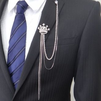 #Lapel pin men #brooch pin  of the #crown and the to and fro long chain.  I can see this on us girls, not guys -- like put this on your business suit to add pizzazz, style.