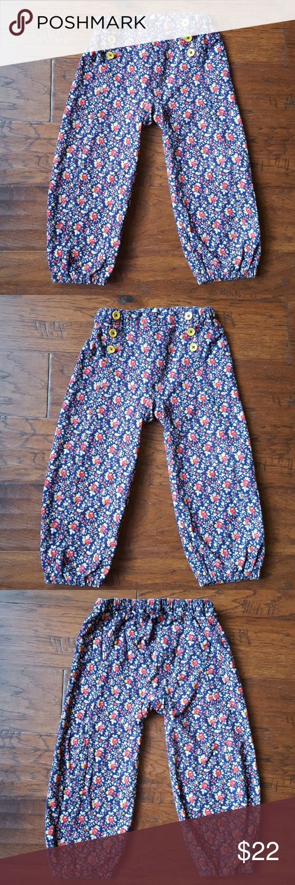 Worn Once! Mini Boden Pretty Cord Trousers 2-3Y Mini Boden Pretty Cord Trousers in Navy Antique Rose print. Mustard yellow buttons adorn the front of these sweet corduroy pants. Mustard yellow jersey lining to keep your little one extra warm on cold winter days. Worn once. Mini Boden Bottoms