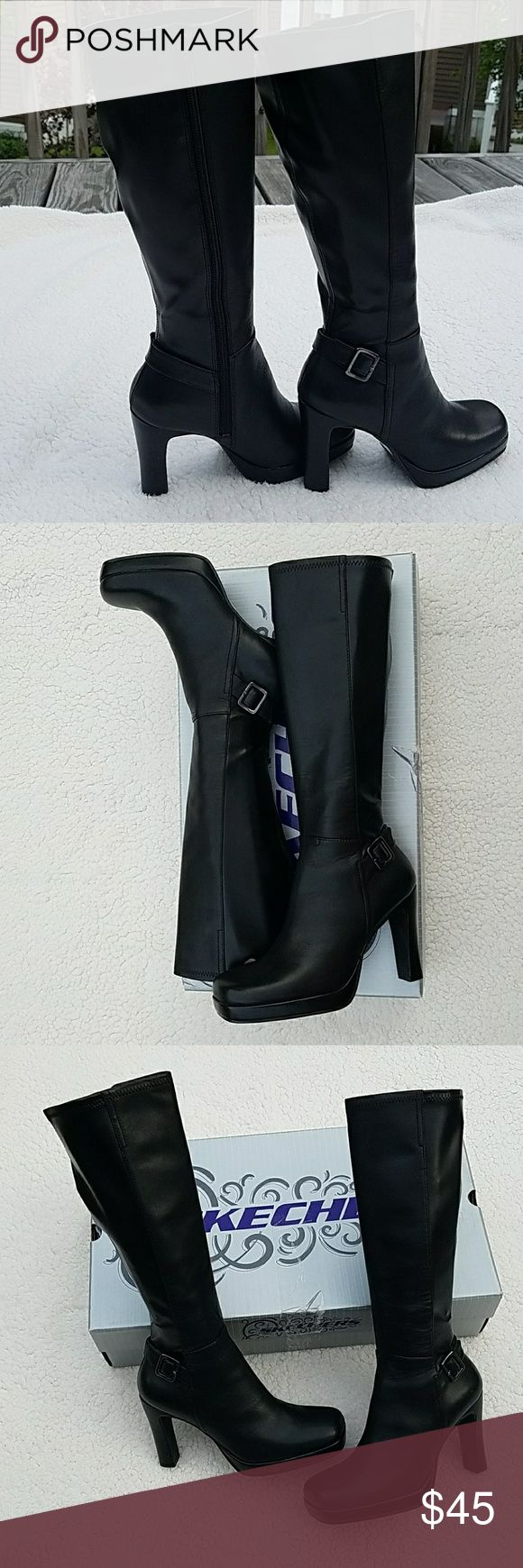 """NEW black platform leather boots by Skechers NEW black platform leather boots by Skechers in size 5 1/2. These beauties have a zipper on the inside and buckle detail. There are very minor scratches from storing them and one ding below the buckle on one of the boots. Otherwise perfect. They were stored in the box and will be shipped in the box, unless buyer doesn't want the box.   These boots are new and have never been worn. Soft leather upper.  Measurements:  Heel is 4"""" with a 3/4""""…"""