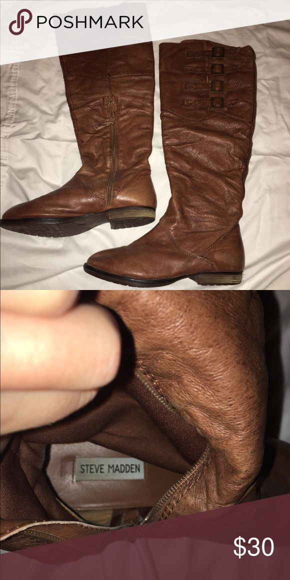 Steve Madden Tall Brown Boots Steve Madden tall dark caramel boots with a 4 buckle detail on the outside of the boot and a short zipper on the inside Shoes Over the Knee Boots
