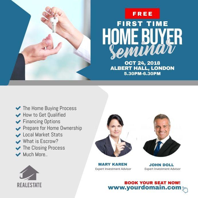 First Time Home Buyer Seminar Flyer In 2021 Seminar Flyer First Time Home Buyers Instagram Branding Template