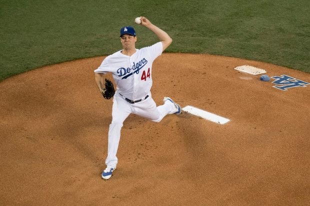 October 31, 2017:  World Series Game 6 -  Los Angeles Dodgers vs Houston Astros,   Los Angeles Dodgers starter Rich Hill throws to the plate during Game Two of the World Series against the Houston Astros at Dodger Stadium in Los Angeles, CA on Tuesday, October 31, 2017. (Photo by Kevin Sullivan, Orange County Register/SCNG)