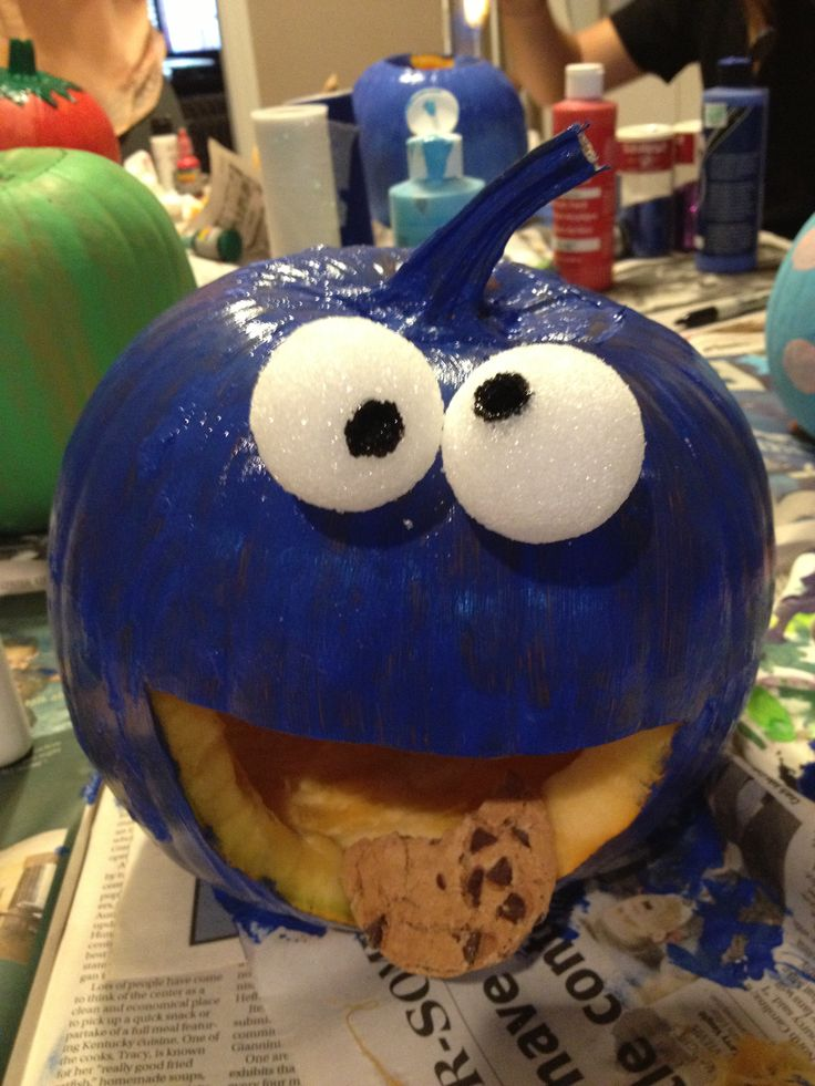 Cookie monster pumpkin painting halloween pinterest Funny pumpkin painting ideas
