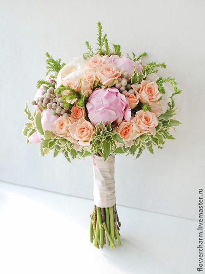 Букет невесты розово-персиковый. Handmade.