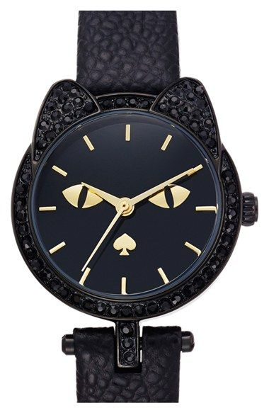 kate spade new york cat dial leather strap watch, 26mm available at #Nordstrom…