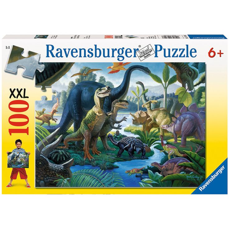 Ravensburger Land of the Giants - Dinosaurs River Scene Puzzle 100pc X – Dinosaurs Galore
