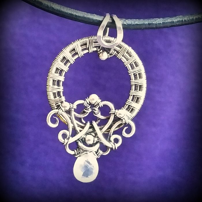 Laura Pendant in Moonstone and sterling silver by Kristine Schroeder