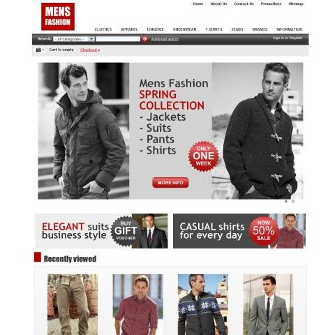 MENS Fashion CS-Cart Template is specially designed for Apparel Man. There are Suits, Casual Shirts, Knitwear Sweaters, Polo Shirts, Coats Outwear, Pants Jeans . Garmonical colors combination of black and grey.
