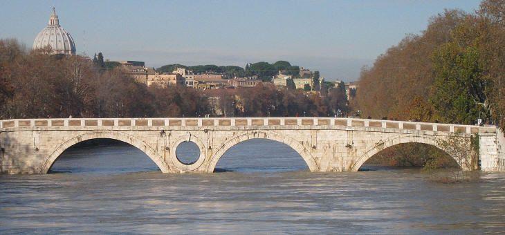 "Ponte Sisto - during floods the water sometimes flows through the ""eye"" in the center of ponte Sisto"