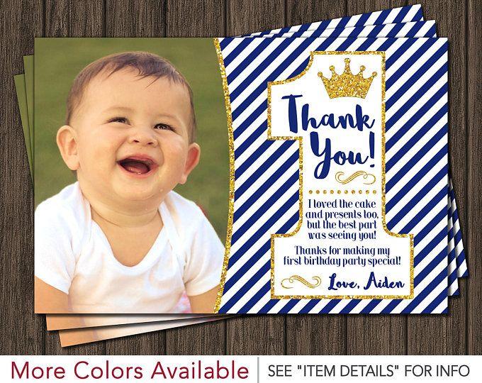Cumpleaños de príncipe primero gracias tarjeta - azul real 1er cumpleaños gracias tarjeta