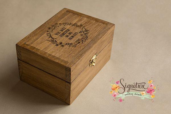 Rustic Pine wooden ring box dark walnut finish