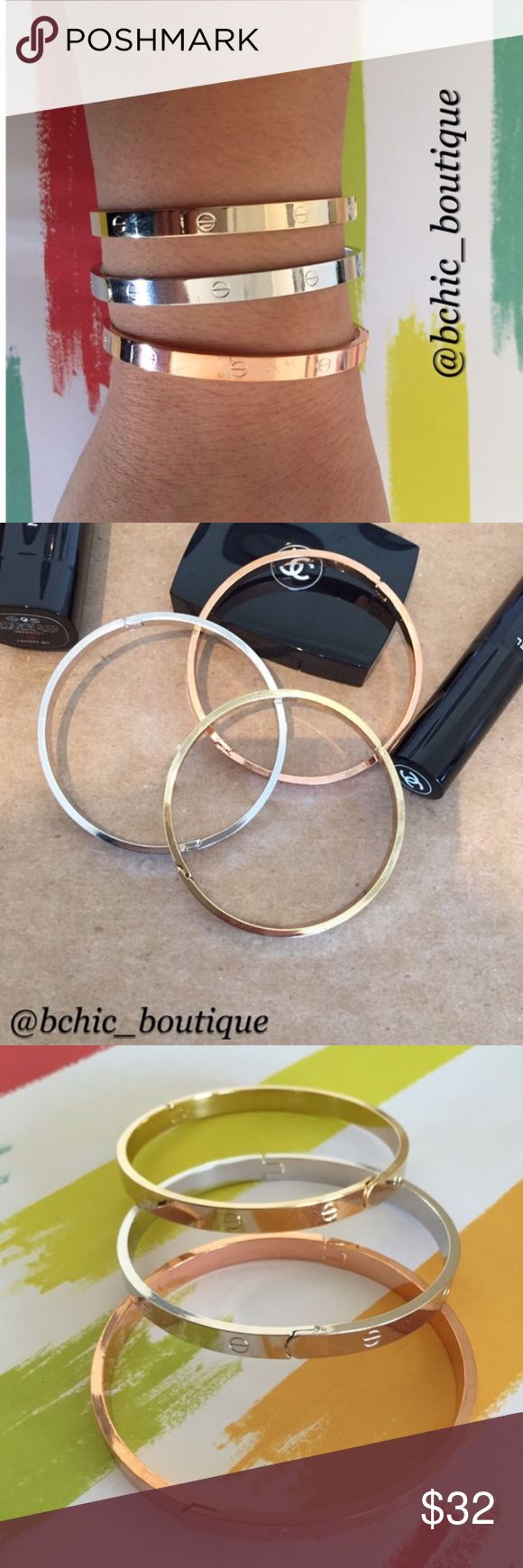 "3 Tone ""Love"" Bangle Bracelets 3 Tone ""love"" Bangle bracelets. Each set comes with 1 silver, 1 gold and 1 rose gold. Fits writs up to 8"". Bchic Jewelry Bracelets"