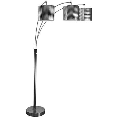 raxton charcoal steel 3light modern arc floor lamp