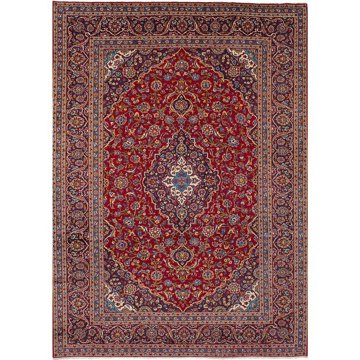 eCarpetGallery Hand-Knotted Kashan Red Wool Rug (7'11 x 11'6) (Red Rug (7' x 11')), Size 7' x 11' (Cotton, Border)
