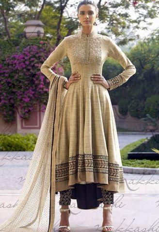 Beige Khadi Designer Palazzo Salwar Kameez..@ fashionsbyindia.com #designs #indian #fashion #womens #style #cloths #fashion #stylish #casual #fashionsbyindia #punjabi #suits #wedding #salwar #kameez #chic #outfits