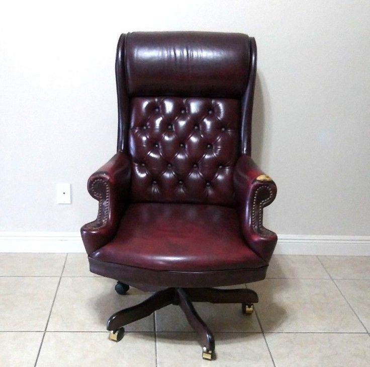 North Hickory Furniture Burgundy Leather Office Executive Desk Chair (unsigned) #Traditional #NorthHickoryFurniture
