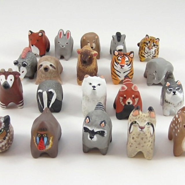 Detailed polymer clay animals.