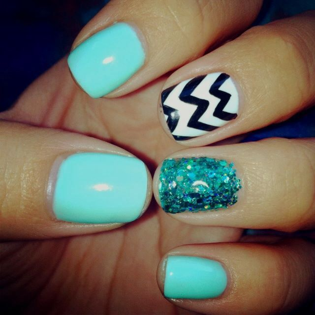 17 Best Ideas About Teal Acrylic Nails On Pinterest