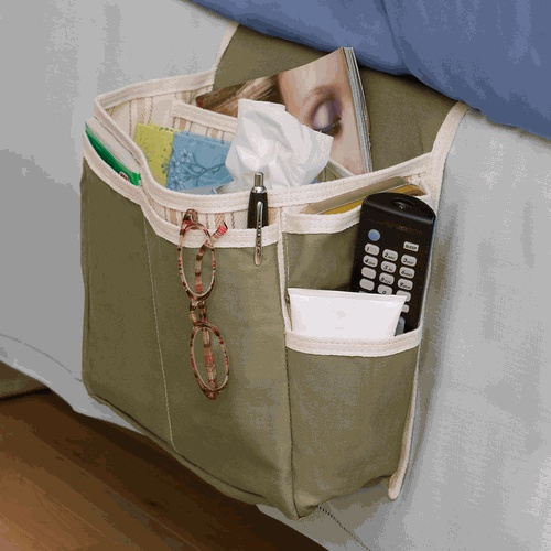Bedside Organizer.  Would my mess be less noticeable if it were tucked down on the side of my bed
